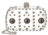 Alexander McQueen Embellished Leather Skull Box Clutch.