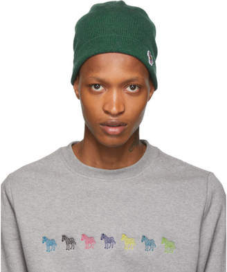 Paul Smith Green Wool Zebra Beanie
