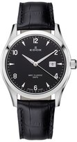 Edox Women's 33017 3 NIN WRC Luminous Stainless Steel Black Genuine Leather Date Watch