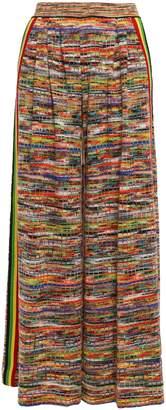 Missoni Striped Crochet-knit Wool-blend Wide-leg Pants