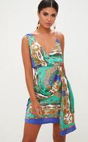 PrettyLittleThing Cobalt Satin Scarf Print Wrap Print Bodycon Dress