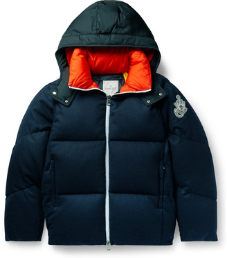 MONCLER GENIUS 1 Moncler Jw Anderson Logo-Appliqued Shell-Trimmed Quilted Wool-Flannel Hooded Down Jacket