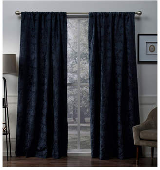 """Exclusive Home Elle Chenille Floral Scroll Woven Blackout Rod Pocket Curtain Panel Pair, 52"""" x 108"""""""