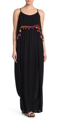 BOHO ME Pompom Overlay Maxi Dress