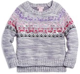 Design History Girls' Textured Nordic Pattern Marled Sweater - Sizes 2-6X