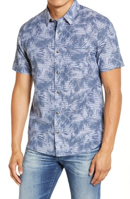 Travis Mathew Chronic Sunshine Slim Fit Short Sleeve Button-Up Shirt