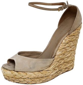 Gucci Beige Suede Raffia Wedge Peep Toe Ankle Strap Sandals Size 39
