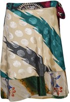 Mogul Interior Womens Magic Wrap Around Skirt Silk Sari Reversible Gypsy Mini Skirts