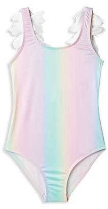 Stella Cove Little Girl's & Girl's One-Piece UPF 50+ Rainbow Petal Swimsuit