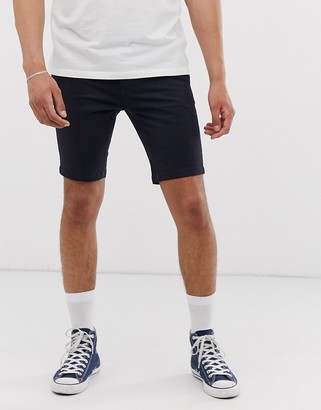 Burton Menswear skinny chino shorts in navy