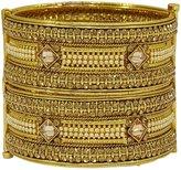 Matra tone CZ Stone Screw Lock 2 Pcs Kada Bracelet Churi Bangle Set Ethnic Jewelry