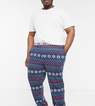 Asos Design DESIGN Plus christmas lounge pyjama bottom with fairisle print-Navy