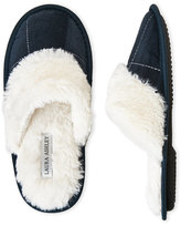 Laura Ashley Microsuede Plush Slippers