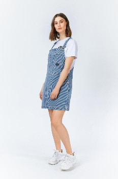 Dr. Denim Shift Workers Washed Stripe Michigan Pinafore Dress - large