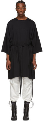Random Identities Black Oversized Maxi Belted T-Shirt