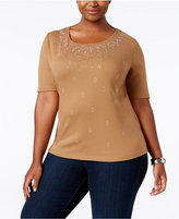 Karen Scott Plus Size Studded Top, Only at Macy's