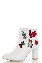Quiz White PU Patchwork Embroidered Ankle Boots