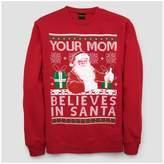 Fifth Sun Men's Long Sleeve Your Mom Believes in Santa Fleece Sweatshirt - Red