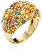 Rina Limor Fine Jewelry Women's Yellow-Plated Sterling Silver Multi-Color Sapphire Wave Dome Ring