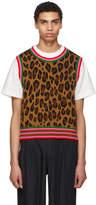 Comme des Garcons Tan Leopard Knit Vest