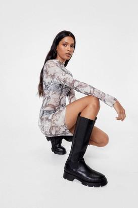 Nasty Gal Womens Get a Groove On Mesh Marble Mini Dress - Grey - 4