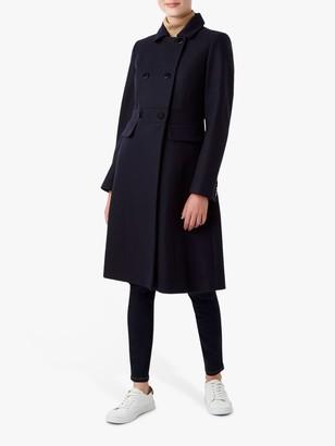 Hobbs Petite Corrine Tailored Double Breasted Coat, Navy