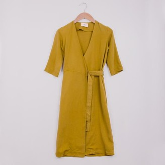 Folk Wrap Dress Golden Yellow - 1