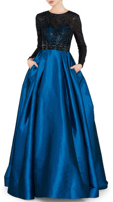 Mac Duggal Sequin Embellished High-Neck Illusion Long-Sleeve Taffeta Ball Gown