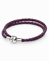 Pandora Bracelet - Purple Leather Double Wrap with Sterling Silver Clasp, Moments Collection