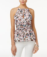 GUESS Perla Floral-Print Smocked Top