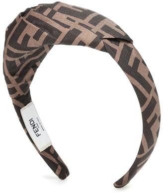Fendi Logo silk-twill headband
