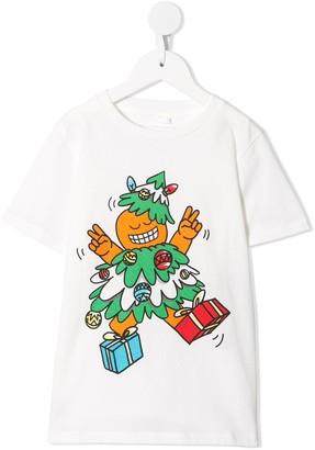 Stella Mccartney Kids Christmas-print organic-cotton T-shirt