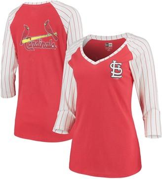 New Era Women's Red St. Louis Cardinals Pinstripe Raglan 3/4-Sleeve V-Neck T-Shirt