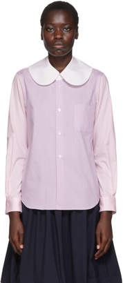 Comme des Garcons White Colorblocked Large Collar Shirt