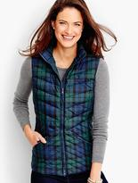 Talbots Chevron-Quilted Puffer Vest-Plaid