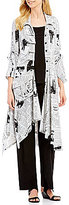 IC Collection Newspaper Print Button Front Asymmetrical Hem Jacket