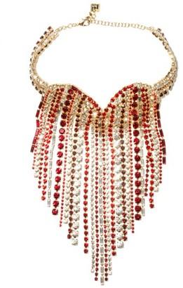Rosantica Heart Crystal-embellished Fringe Necklace - Red Multi