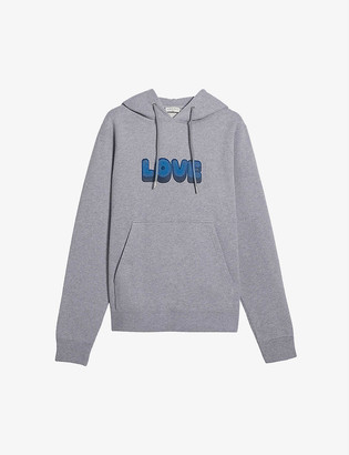 Sandro Slogan-print cotton-jersey hoody