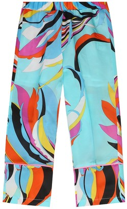 Emilio Pucci Kids Printed satin pants