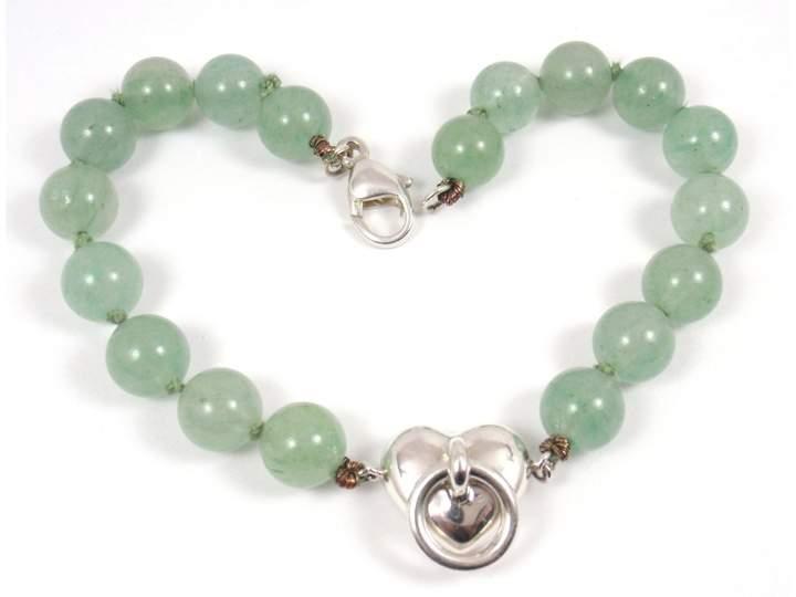 Tiffany & Co. Sterling Silver Aventurine Bead Ball Heart Bracelet