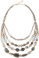 Nakamol Multi-Strand Beaded Collar Necklace, Silver Mix