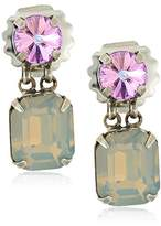 Sorrelli Purple Lotus Crystal Octagon and Round Post Drop Earrings
