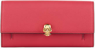 Alexander McQueen Skull-Clasp Grain Leather Flap Wallet on Chain
