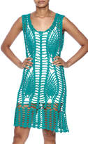 New York Collection Feather Crochet Cover Up