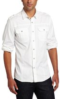 Calvin Klein Jeans Men's Solid Twill Military Long Sleeve Shirt