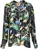N°21 Tropical Print Blouse From Black Tropical Print Blouse With Front Button Fastening, Breast Pockets, Long Sleeves, Buttoned Cuffs And A Curved He