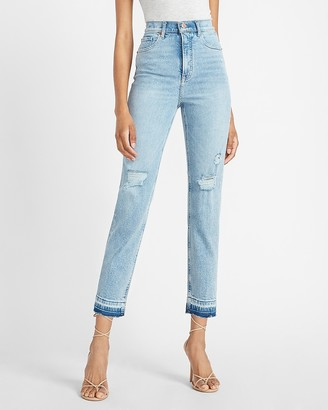 Express Super High Waisted Ripped Released Hem Straight Jeans