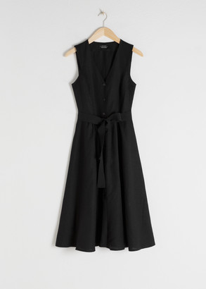 And other stories Belted Linen Blend Midi Dress