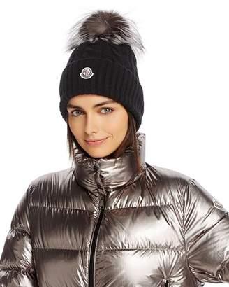 Moncler Fox Fur Pom-Pom Cable-Knit Beanie