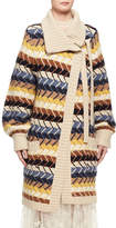 Chloé Textured Herringbone Long Cardigan, Blue/Multicolor